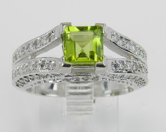 Diamond and Princess Cut Peridot Engagement Ring Green 14K White Gold Size 6.75