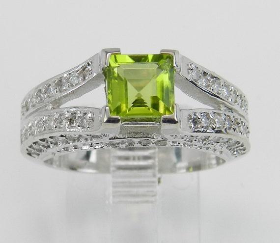 Diamond and Princess Cut Peridot Engagement Ring Green 14K White Gold Size 6.75