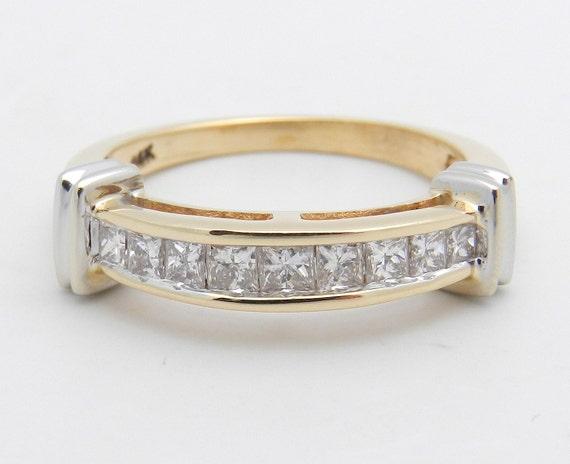 Princess Cut Diamond Wedding Ring Anniversary Band 14K Yellow White Gold Size 7.25