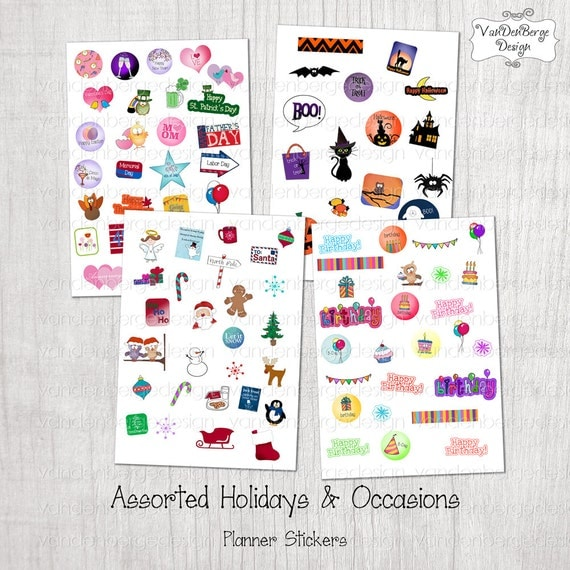 Calendar Planner Stickers : Planner calendar stickers assorted holiday occasions
