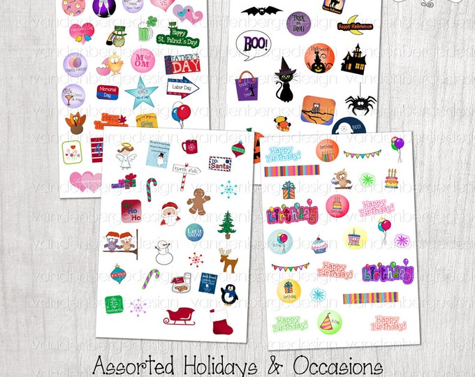 Planner Calendar Stickers- Assorted Holiday & Occasions -Perfect for the Erin Condren Planner!