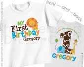 Jungle Birthday Shirt or Bodysuit (Boy Front & Back Shirt) - Personalized Zoo First Birthday Shirt - Monogram Jungle 1st Birthday Outfit