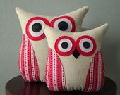 Valentine Decor - Valentine Pillow - Bedroom Decor - Owl Pillow - Heart Stripes & Love Words - Pink, Red, Black - Large or Small