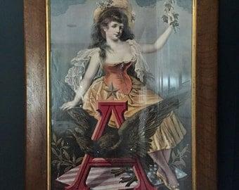 "Vintage Patriotic Advertisement Poster ""American Women"" Framed"