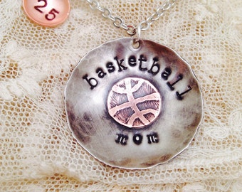 Custom Basketball mom necklace hand stamped soldered