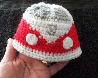 vw campervan beanie hat for newborn baby