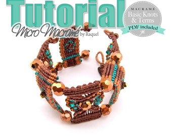 "Micro Macrame TUTORIAL ""Brown Steps"" Bracelet"