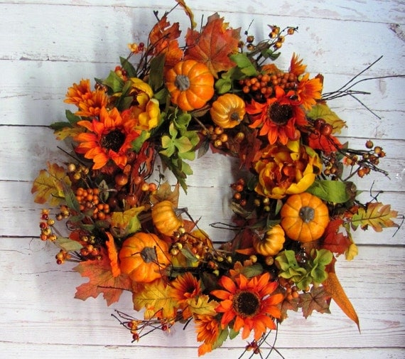 Sale Thanksgiving Wreath Primitive Fall Wreath Fall