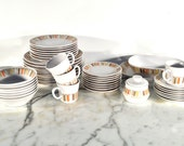 Noritake Progession Mardi Gras 45 Piece Set Mid Century China Plates Cups Bowls Saucers