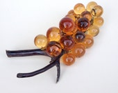Lucite Grape Cluster, Amber Mid Century Modern Home Decor Accent