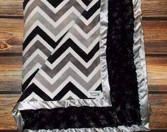 Minky blanket, blanket for baby boy, chevron blanket, adult blanket, black and grey chevron, gift for baby boy