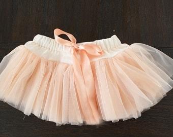 Baby girl Skirt, cake smash tutu, Soft tutu, Elegant Tutu, Pettiskirt, Peach tutu, Pink tutu, photoshoot , photo prop, newborn outfit, baby