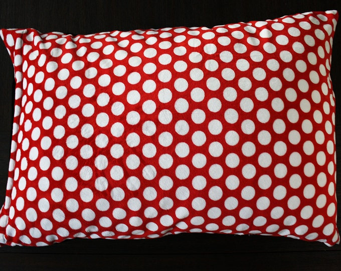 Minky Pillowcase, Red and White Polka Dot, Mickey Mouse, Disneyland, Case for Pillow, soft pillowcase, satin pillowcase, Black and Red