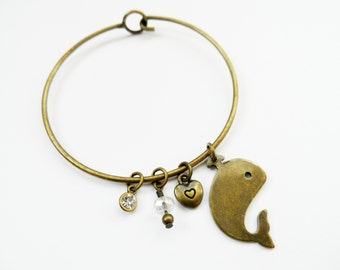 Whale Charm Bangle, Whale Antique Brass Charm Cuff Bracelet Perfect For Women Teens and Girls!