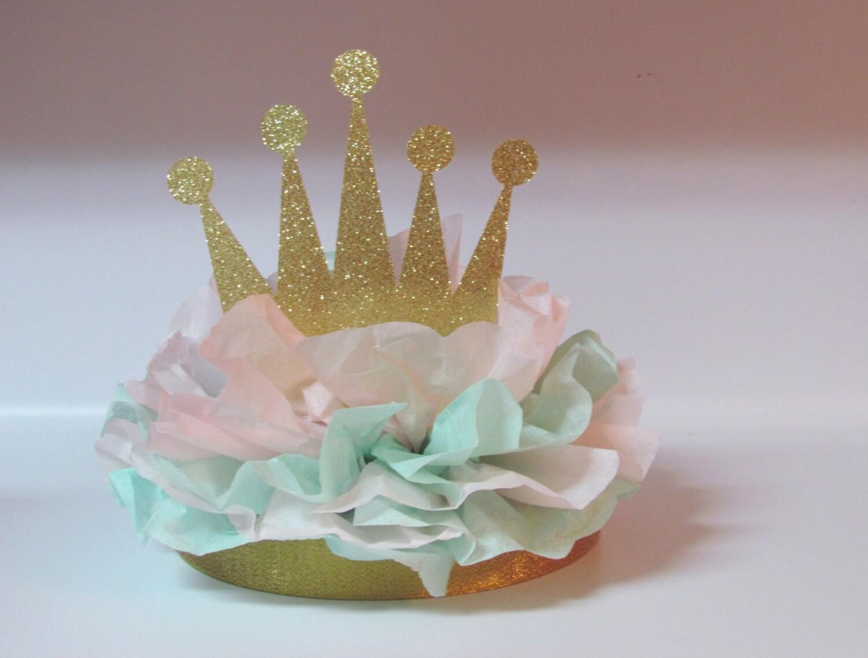Crown tiara glitter centerpiece gold pink mint princess