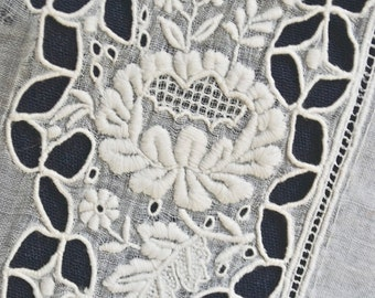 Antique Whitework Embroidery Hand Embroidered Cotton Lawn Batiste