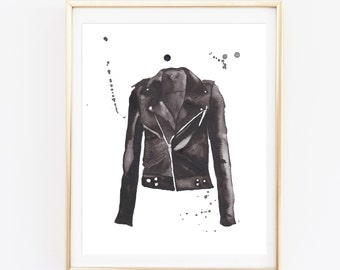 """Motorcycle Jacket Watercolor Giclee Print of an Original Painting 8 x 10"""" - Wall Art, Home Decor"""