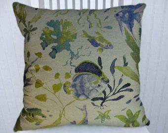 Blue Yellow Green Fish Pillow Cover 18x18 or 20x20 or 22x22-Decorative  Throw Pillow- Lumbar Pillow Cover-Accent Pillow