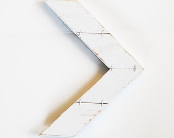 Handmade Mini Wood Arrow Chevron Wall Decor Distressed White