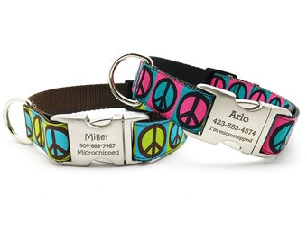 Peace Signs Dog Collar with Laser Engraved Personalized Buckle