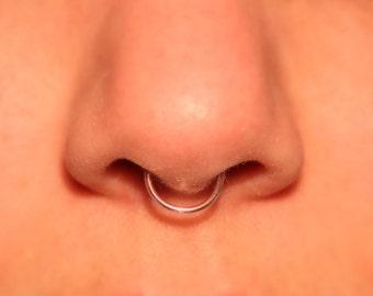 Thick Rose Gold Septum Cuff (fake nose ring) 18 gauge NO PIERCING REQUIRED, plain, simple septum cuff, fake septum ring, fake piercing, faux