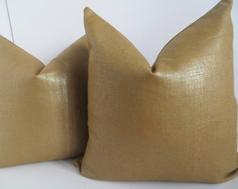 Decorative Pillow Cover, Metallic Pillow  Cover, 20x20, 18x18 Bronze Pillow Cover, Bronze Pillow,Gold Pillow Cover, Gold Pillow, Pillow