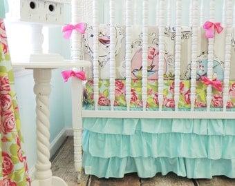 Boutique Baby Bedding, Aqua Skirt Only, Aqua Ruffle Crib Skirt, Baby Girl Crib Skirt, Baby Girl Bedding, Little Girl Bedding