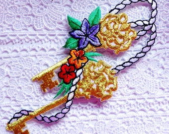 Iron On Patch Applique - Keys & Flowers Garland