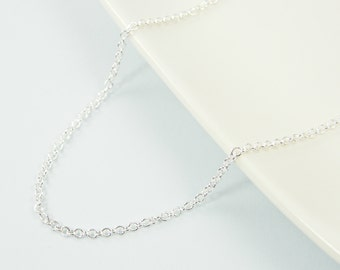 24 Inch Bright Silver Plated Chain Necklace, 24 Inch Silver Chain, Small Link |CH1-S24