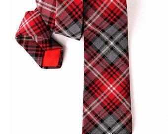 Mens Necktie red grey and black plaid Wool tie