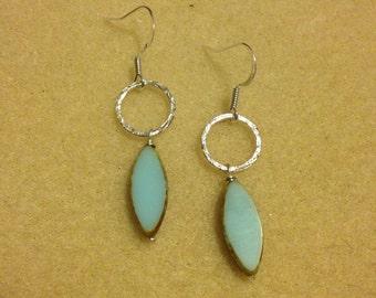Sea Blue Hoop Drop Earrings