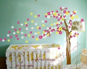 cherry blossom  tree decals baby nursery kids room decor pink white girl wall decor wall art- Cherry Blossom Tree with butterfly