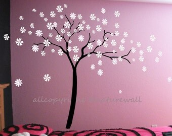 Nursery wall decals cherry blossom decals floral sticker kids wall decals  white girl wall art- Cherry Blossom vines
