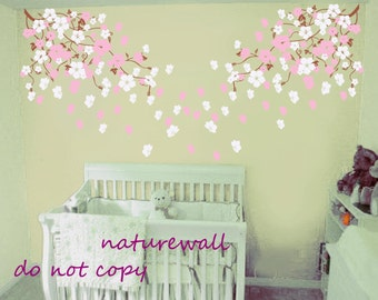 Vinyl wall decals wall stickers cherry blossom vines kids wall decals baby decals  pink white girl wall art- Cherry Blossom vines