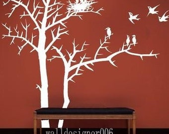 Removable Vinyl wall sticker decal Art - winter tree with birds and birds nest
