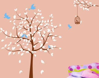 Tree wall decals Kids wall stickers baby decal nursery decal room decor wall decor murals graphic- tree with birds