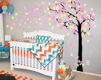 Nursery decals Cherry blossom wall decal  tree decal baby  kids room decor nature girl wall decor wall art- Trailing Cherry Blossom