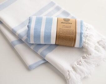 Light Blue Extra Thick Turkish Bath Towel Peshtemal 100% Cotton