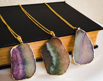 Fluorite Necklace Ombre Necklace Layered Colorful Gemstone Layering Gold Necklace Rainbow Purple Green Teal Aqua Modern Statement Stone C1