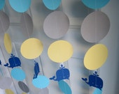 Whale Paper Garland, Whale Decorations, Whale Baby Shower, Whale Birthday Party, Whale Theme
