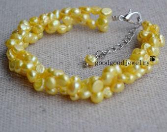 yellow pearl bracelet,5-6mm 7.5 inch Freshwater bracelet,wedding bridal bracelet,prom bracelet,twist Pearl bracelet,real pearl bracelet