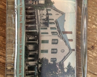 Deer's Head Inn Adirondacks New York Glass Paperweight
