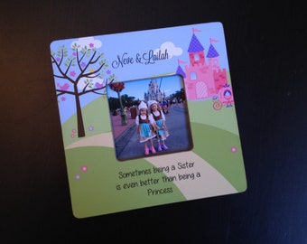 Sisters Gift Big Sister Gift Personalized Sister Frame Being A Sister is Better Than being a Princess Sibling Gift 8x8 Wood Picture Frame