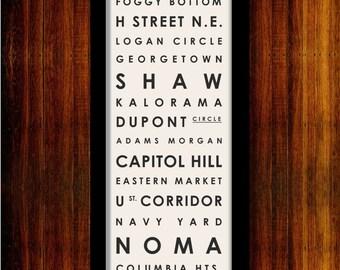 "Washington DC Neighborhood Typographic Bus Roll - Subway Sign Art Print 12"" x 36"""