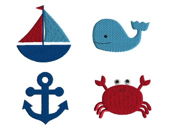 Mini Nautical Machine Embroidery Design Set-INSTANT DOWNLOAD
