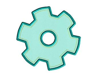 Gear Applique Machine Embroidery Design-INSTANT DOWNLOAD