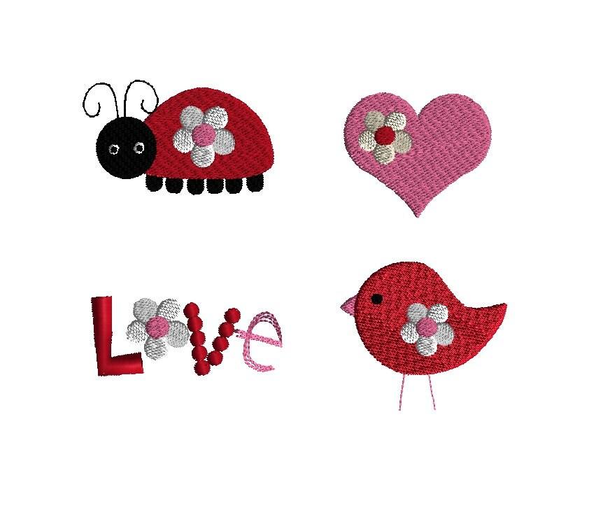 Mini love machine embroidery designs instant download