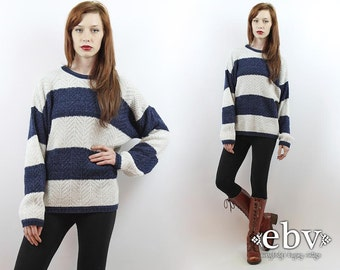 Oversized Knit Striped Pullover Striped Jumper Striped Sweater Rugby Sweater Vintage 90s Navy + White Striped Oversized Sweater S M L