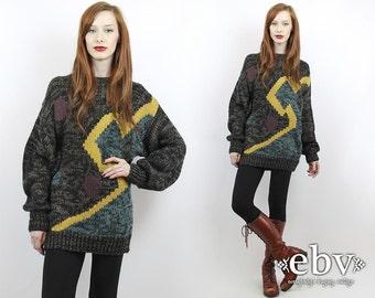 Vintage 90s Black Graphic Oversized Sweater S M L Oversized Jumper Chunky Knit Graphic Sweater Black Sweater Oversized Knit