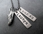 Cross Country Running Necklace - Personalized Custom High School Running Necklace - Gunmetal chain - Your Name - Your School - XC or CC